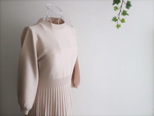 楽天 ファッション ボリュームスリーブ6分袖プリーツニットワンピース